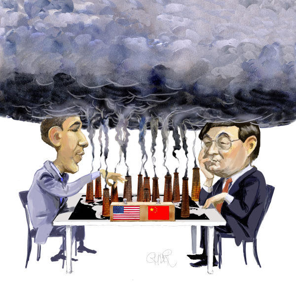 Riber Hansson - Sweden - Obama and Hu Jintau playing climate chess - English - Climate, Climate conference, Copenhagen, Global warming, USA, China