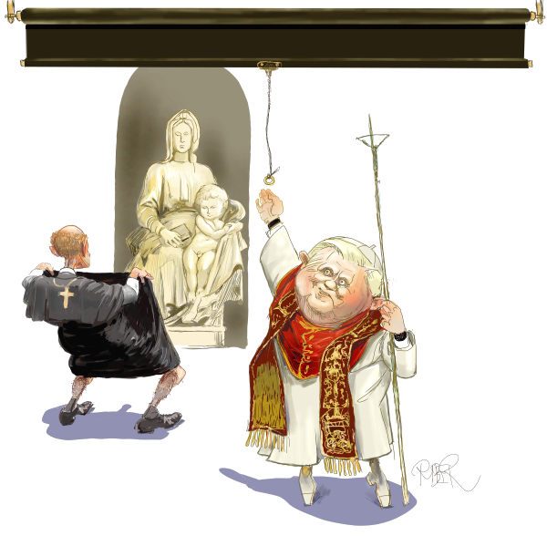 Riber Hansson - Sweden - Pope pulling down a blind - English - Catholic church, Pope, pedophilia, scandal, cover-up, religion
