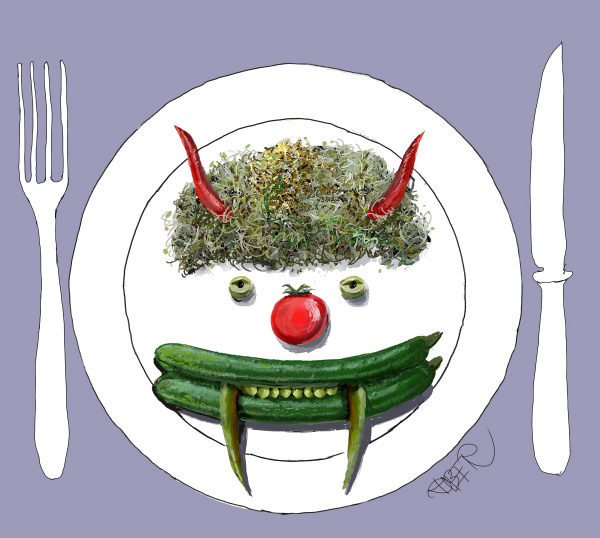 Riber Hansson - Sweden - Vegetable demon on plate - English - Ehec, Europe,Vegetables Green food, Antibiotic, e.coli, deaths, plate, health
