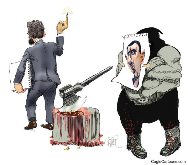Riber Hansson - Svenska Dagbladet, Sweden - Cartoonist and executioner - English - Ali Ferzat, Syria, Cartoonist, al Assad, cartoonist attacked, broken hands, freedom, art