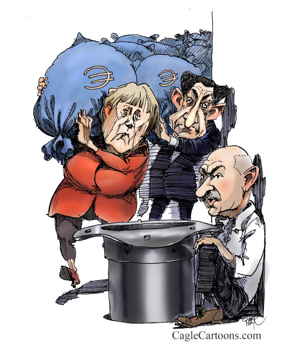 Riber Hansson - Sweden - Merkel and Sarkozy delivering Euro - English - Europe, Economy, Germany, France, Greece, Merkel, Sarkozy, debt, spending, government