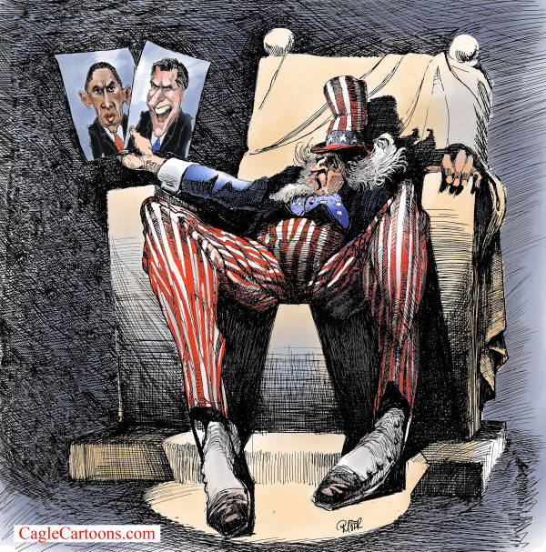Riber Hansson - Sweden - Uncle Sam making a choice from photos - English - Uncle Sam, Obama, Romney, Election 2012