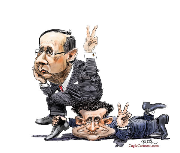 Riber Hansson - Sweden - Hollande sitting on Sarkozys head - English - French election, France, Sarkozy, Hollande