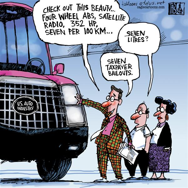 Tab - The Calgary Sun - Seven per hundred - English - US Auto Industry, Cars, Big Three, Detroit, Auto Bailouts,Wall Street, Recession, Housing Market, Sub Prime mortgages, Change, Job losses, Banks, Bush, Bush Administration
