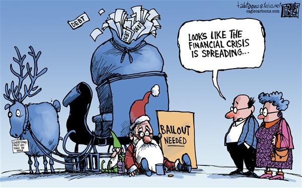 Tab - The Calgary Sun - Santas Bailout - English - Santa Claus, Christmas, Economy, recession, Depression, Financial Crisis, US Auto Industry, Cars, Big Three, Detroit, Auto Bailouts,Wall Street, Recession, Housing Market, Sub Prime mortgages, Change, Job losses, Banks