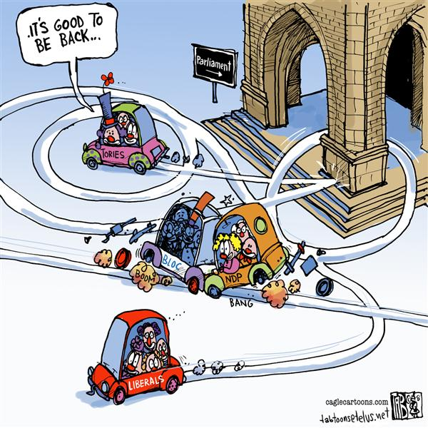Tab - The Calgary Sun - CANADA The clowns are back - English - Canada, Canadian Politics, Conservatives, Liberal Party, NDP, Bloc, Canadian Parliament, House of Commons