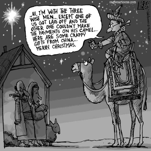 Tab - The Calgary Sun - One Wise Man - English - Christmas, Xmas, Lay Offs, Bailouts, Financial Crisis, Sub Prime Mortgages, Cutbacks, Three Wise Men, Chinese Goods, Recession, Depression, World Economy, Economy