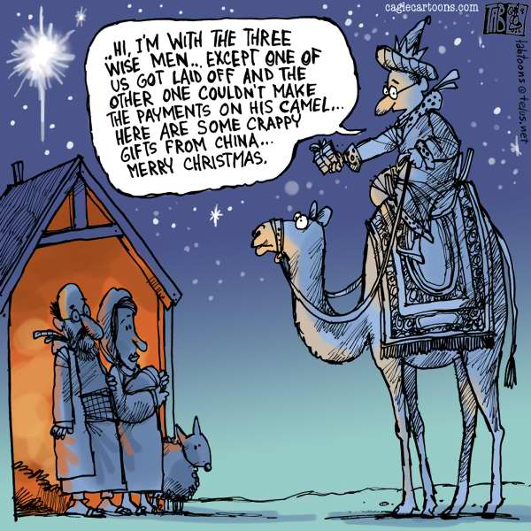 Tab - The Calgary Sun - One Wise Man COLOR - English - Christmas, Xmas, Lay Offs, Bailouts, Financial Crisis, Sub Prime Mortgages, Cutbacks, Three Wise Men, Chinese Goods, Recession, Depression, World Economy, Economy