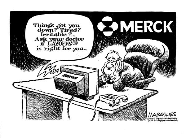 Jimmy Margulies - The Record of Hackensack, NJ - Merck Layoffs - English - Merck, Vioxx, layoff, layoffs, workers, work, jobs, job, medicine, perscriprion, perscriptions, medicines, pills, CEO, company