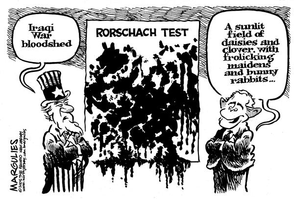 Jimmy Margulies - The Record of Hackensack, NJ - Rorschach Test - English - Iraq, War, Bush, Speech, Iraqi, bloodshed, opinion, point of view, rorschach, rorschach test, ink blot, psychology, george, W, Bush, uncle sam