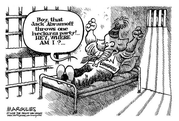 Jimmy Margulies - The Record of Hackensack, NJ - Boy that Jack Abramoff throws one heckuva party - English - Jack Abramoff, abramoff, Congressional, ethics, lobbysists, lobby, Congressional, bribes, congress, republicans, committee, jail, prison, rowdy, party