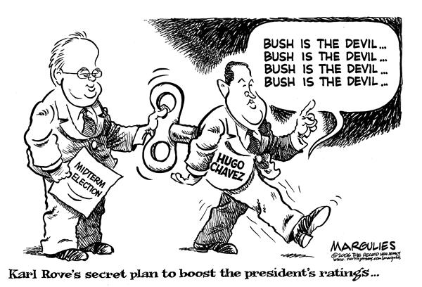 Bush is the Devil © Jimmy Margulies,The Record of Hackensack, NJ,Hugo Chavez, chavez,  Bush, popularity, Karl Rove, rove, devil, boost, ratings, president, george, w, bush, venezuela