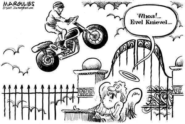 Evel Knievels last stunt © Jimmy Margulies,The Record of Hackensack, NJ,Evel Knievel, Daredevils, motorcycles