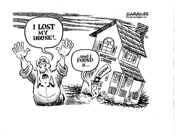 I LOST my house © Jimmy Margulies,The Record of Hackensack, NJ,Mortgage crisis, subprime mortgages, housing downturn, economy, recession, economic slowdown, credit crunch