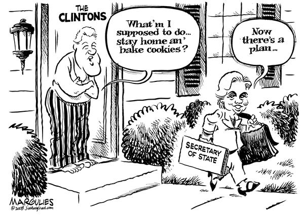 Hillary/Bill Secretary of State © Jimmy Margulies,The Record of Hackensack, NJ,Hillary Clinton, Bill clinton, Secretary of State, Barack Obama, Obama Administration, Democrats, Democratic party