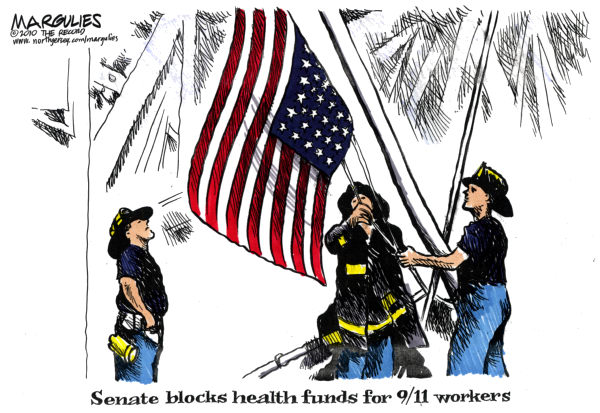 No health funds for 9/11 workers color © Jimmy Margulies,The Record of Hackensack, NJ,9/11 workers, 9/11 workers health, Ground Zero, Zadroga Bill, Lower Manhattan, September 11th, Ground Zero emergency workers, Ground Zero first responders