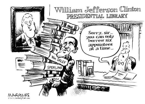 Obama and Clinton appointees © Jimmy Margulies,The Record of Hackensack, NJ,Obama, Clinton, Clinton alumni, White House, White House reorganization, President Obama, Barack Obama, White House staff changes