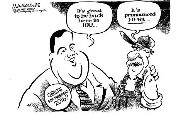 Christie presidential ambitions © Jimmy Margulies,The Record of Hackensack, NJ,Chris Christie, Governor Christie, Iowa, Iowa Caucuses, Republicans, Republican presidential candidates, 2012 presidential contenders