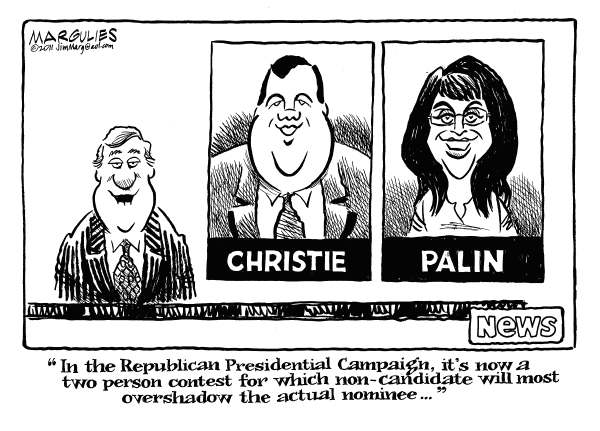 Republican non-candidates © Jimmy Margulies,The Record of Hackensack, NJ,Republican Presidential campaign, Christie, Palin, Chris Christie, Sarah Palin, 2012 Republican Presidential campaign, Mitt Romney, Rick Perry, Herman Cain, Ron Paul, Newt Gingrich, Rick Santorum, Michele Bachmann