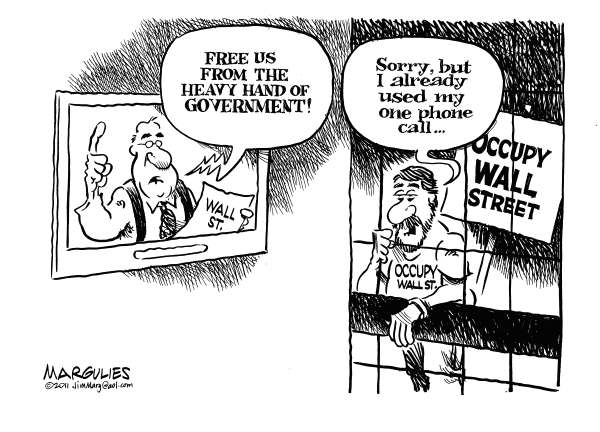 Jimmy Margulies - The Record of Hackensack, NJ - Occupy Wall Street arrests - English - Occupy Wall Street, Financial industry, Wall Street, Economy, Economic disparity, Wealthy, Economic injustice, Banks, Bailouts, Corporate America