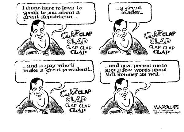 Jimmy Margulies - The Record of Hackensack, NJ - Christie campaigns for Romney - English - Romney, Mitt Romney, Romney for President, Republican presidential race, Iowa Caucuses, Republican primaries, Christie, Chris Christie