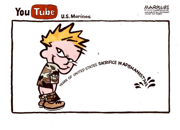 Marines urinating on Taliban color © Jimmy Margulies,The Record of Hackensack, NJ,Marines urinating on Taliban, Afghanistan, war crimes, Geneva Conventions, Taliban, US Image, US- Muslim relations, Marines