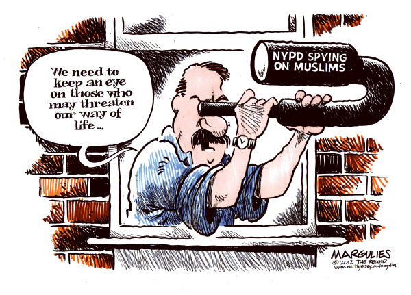 NYPD spies on Muslims © Jimmy Margulies,The Record of Hackensack, NJ,NYPD, Muslims, war on terror, jihad, mosques, civil liberties, warrants
