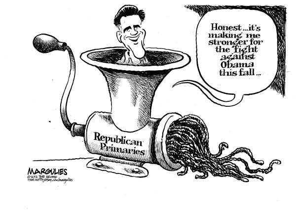 Jimmy Margulies - The Record of Hackensack, NJ - Romney and the primaries - English - Romney, MItt Romney, Republican primaries, Rick Santorum, Newt Gingrich, Ron Paul, 2012 presidential race, Obama