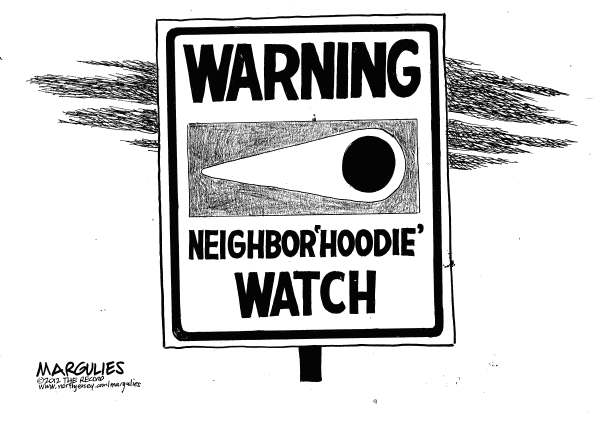 Jimmy Margulies - The Record of Hackensack, NJ - Trayvon Martin hoodie - English - Trayvon Martin, Trayvon Martin shooting, Hoodie, Hoodie sweatshirts, Neighborhood watch, racism, stereotyping, guns, National Rifle association, handguns, Florida stand your ground law