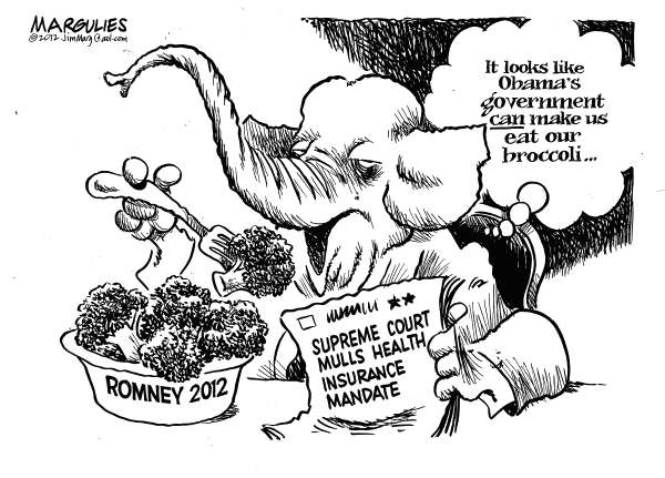 Jimmy Margulies - The Record of Hackensack, NJ - Making us eat broccoli - English - Romney, Republicans, Obamacare, Health insurance mandate, Supreme Court review of Obama Health Plan, 2012 Presidential race