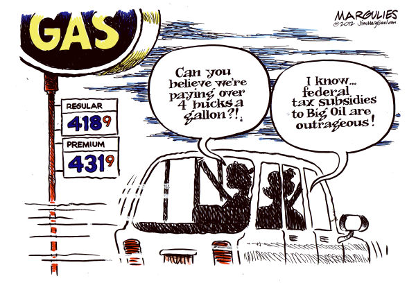 Jimmy Margulies - The Record of Hackensack, NJ - Big Oil subsidies color - English - Big Oil Subsidies, Gas prices, fuel prices