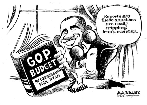 Jimmy Margulies - The Record of Hackensack, NJ - Iran economic sanctions - English - Iran economic sanctions, Republican budget, Ryan budget, Republican economics, Romney, Paul Ryan, Tax cuts for the rich, Medicare cuts