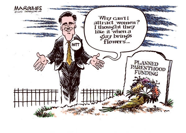Romney and women voters © Jimmy Margulies,The Record of Hackensack, NJ,Romney, Mitt Romney, Romney for president, Women voters, Republican war on women, Romney and women voters, Planned Parenthood, Womens health, Womens reproductive rights, abortion federal funds for Planned Parenthood