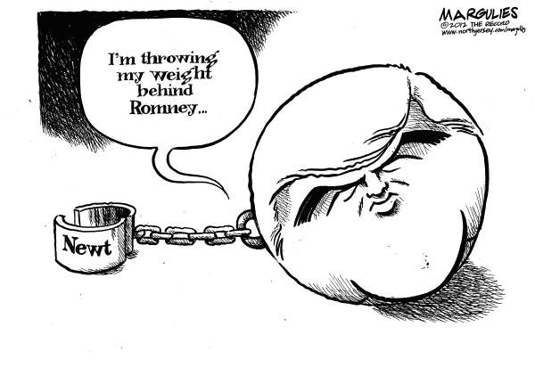 Jimmy Margulies - The Record of Hackensack, NJ - Newt supports Romney - English - Newt Gingrich, Gingrich, Romney, Mitt Romney, Republican presidential campaign, Republican unity, 2012 election
