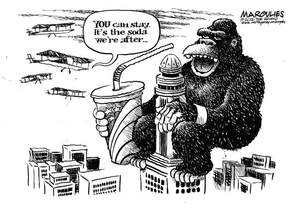 Jimmy Margulies - The Record of Hackensack, NJ - NYC ban on large sodas - English - NYC ban on large sodas, Mayor Bloomberg, Obesity, Sugary drinks, calories, diet, nutrition, childhood obesity
