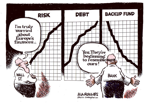 Worries about Europe economy © Jimmy Margulies,The Record of Hackensack, NJ,Euroipean debt crisis, Euro Zone, European economic woes, European recession, Wall Street, JP Morgan Chase, Dodd Frank, financial regulation