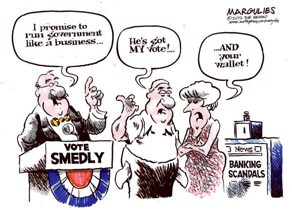 Banking scandals © Jimmy Margulies,The Record of Hackensack, NJ,Banking scandals, JP Morgan Chase, Barclays, Goldman Sachs, MF Global, Libor