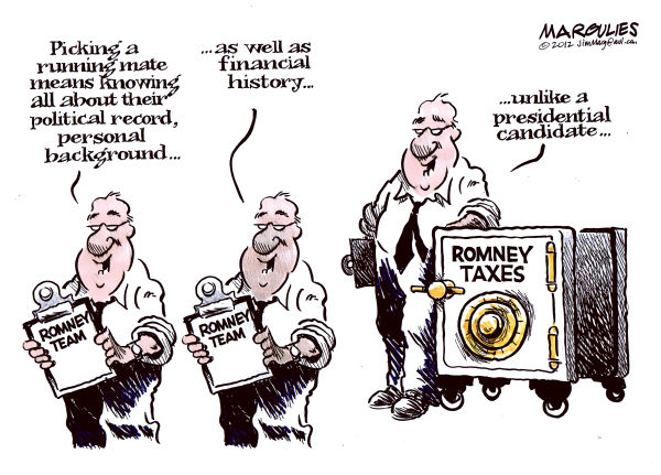 Jimmy Margulies - The Record of Hackensack, NJ - Romney running mate color - English - Romney running mate, Romney VP, Romney vice-presidential choice, Romney taxes, Romney tax returns, Romney finances, Romney and Bain Capital, Romney tax shelters, 2012 Election