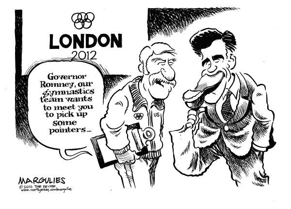 Jimmy Margulies - The Record of Hackensack, NJ - Romney gaffe - English - Romney gaffe, Romney at London Olympics, Romney abroad, Romney foreign trip, Romney overseas trip