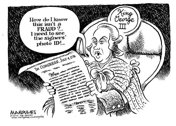 Jimmy Margulies - The Record of Hackensack, NJ - Voter ID laws - English - Voter ID laws, Voter fraud, 2012 election, voting