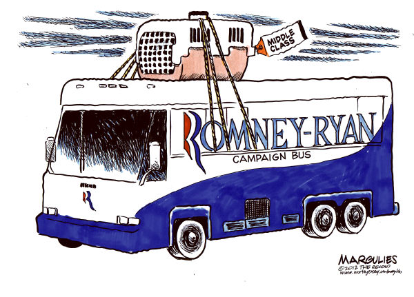 Jimmy Margulies - The Record of Hackensack, NJ - Romney-Ryan campaign bus color - English - Romney, Ryan, Romney-Ryan budget policies, middle class, Romney-Ryan tax policies, Ryan Medicare cuts, Ryan budget, Tax cuts for the rich