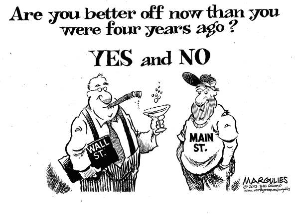 Jimmy Margulies - The Record of Hackensack, NJ - Are you better off - English - Democratic convention 2012, Economy, Wall Street, Main Street, economic recovery, joblessness, unemployment