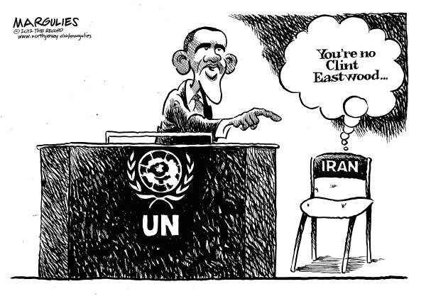 Jimmy Margulies - The Record of Hackensack, NJ - Obama UN speech - English - Obama UN speech, Iran, Iran nukes, US policy on Iran, Israel, Netanyahu