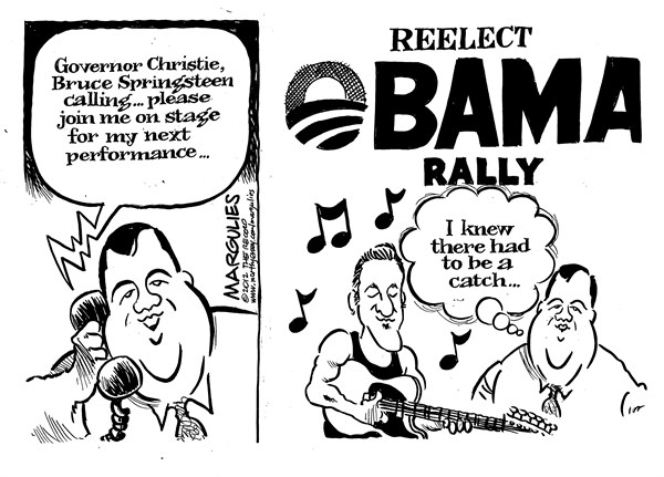 Jimmy Margulies - The Record of Hackensack, NJ - Springsteen campaigns for Obama - English - Bruce Springsteen, Springsteen campaigns for Obama, Obama reelection campaign, Chris Christie, Governor Christie, celebrity support for candidates