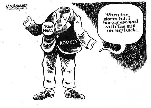 Jimmy Margulies - The Record of Hackensack, NJ - Romney and FEMA - English - Romney, Mitt Romney, FEMA, Hurricane Sandy, Federal Governement, Emergency Disaster Relief