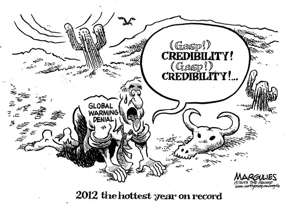 Jimmy Margulies - The Record of Hackensack, NJ - 2012 hottest year on record - English - 2012 hottest year on record, global warming, climate change, global warming denial, weather, storms, hurricanes, drought