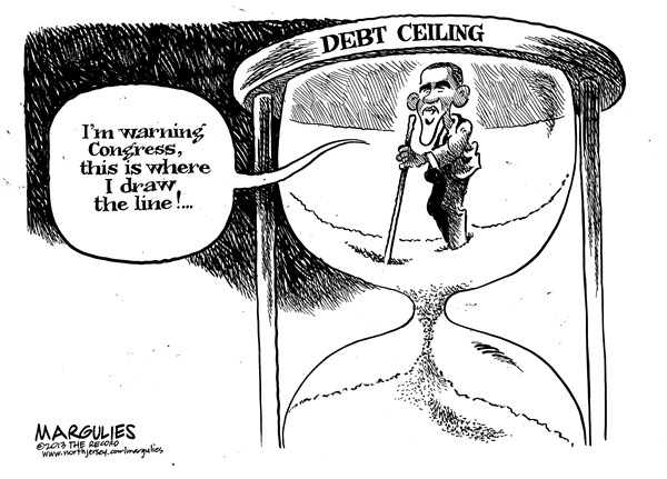 Jimmy Margulies - The Record of Hackensack, NJ - Debt ceiling - English - Debt ceiling, default, Obama, Boehner, Tea party, Congress, Congressional Republicans, deficit, spending