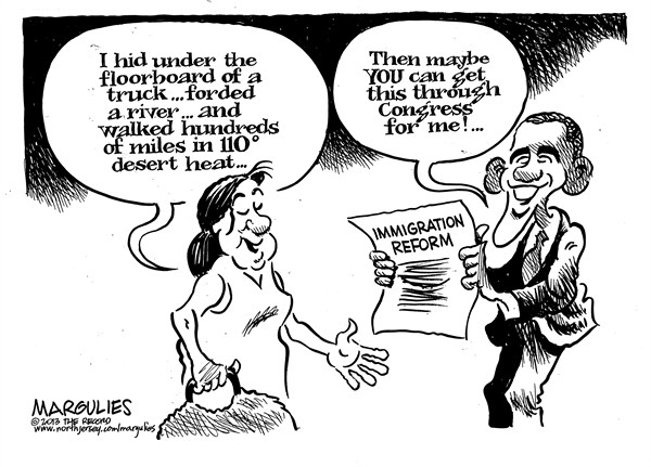 Jimmy Margulies - The Record of Hackensack, NJ - Immigration reform - English - Immigration reform, Immigration, Illegal immigration, Illegal immigrants, Illegal aliens, Obama immigration reform, Dream act, Deportation deferral, Latinos, Hispanics
