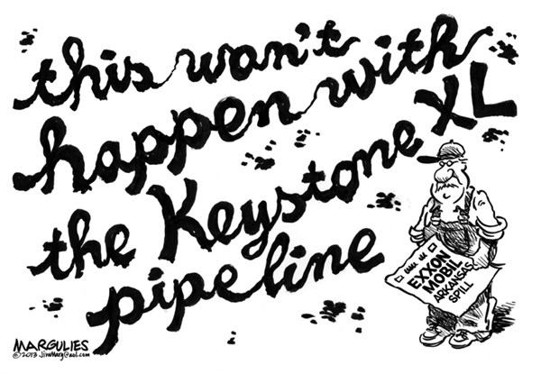 Jimmy Margulies - The Record of Hackensack, NJ - Exxon Mobile Arkansas pipeline spill - English - Exxon Mobile Arkansas pipeline spill, Keystone XL pipeline, energy, fossil fuels, crude oil