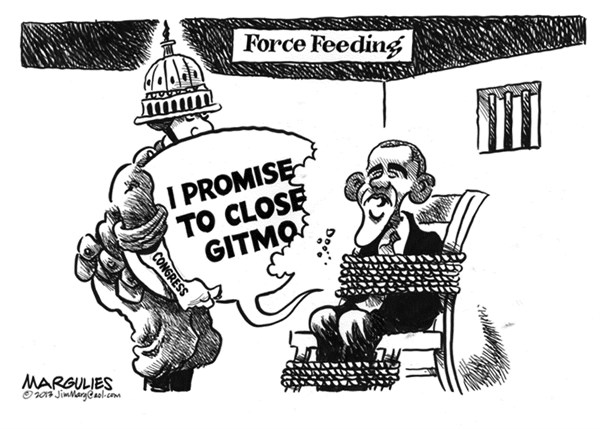 Jimmy Margulies - The Record of Hackensack, NJ - Obama and Gitmo - English - Gitmo, Guantanamo, terrorists, terrorism, Obama promise to close Gitmo, US justice system, US image abroad, torture, waterboarding, enhanced interrogation techniques